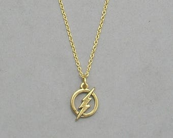 The Flash Necklace- Your choice Black Leather Cord or Antique Silver Chain