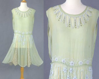 1920s Flapper Dress, 20s Beaded Dress, Mint Green Silk Chiffon and Lace Gatsby Dress with Beaded Flowers & Cutouts