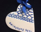 something blue good luck heart bride on wedding day or hen night bachelorette party bridal shower
