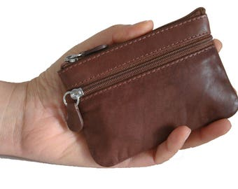 Soft Genuine  Leather Change Purse, coin wallet with attached key ring, rare, vintage, Unisex