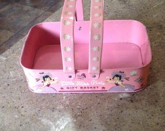 Vintage Little Miss Pixie Pink Gift Basket Metal Childs Toy Butterfly Girl