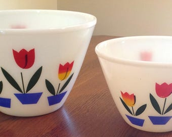 "Vintage Fire King Tulip Red Glass Splash Proof Mixing Bowl 2 Piece Set 9 1/2"" and 7 5/8"""