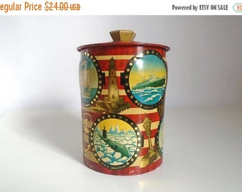 SALE - Mid Century English 1940's - 1950's Graphic Metal Nautical Vessels Candy Toffee Tin by George W. Horner & Co. Ltd.