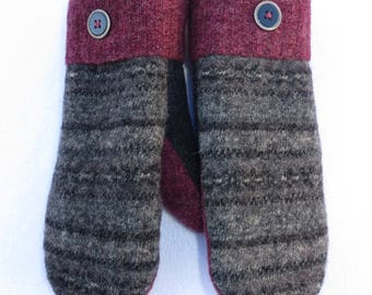 Sweater Mittens // Felted Wool Mittens // Fleece Lined // Gray and Black with Maroon Accents