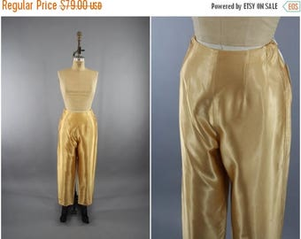 SALE - Vintage 1960s Gold Satin Pants / 60s Cigarette Pants / High Waisted / Disco Pants / Size Medium M