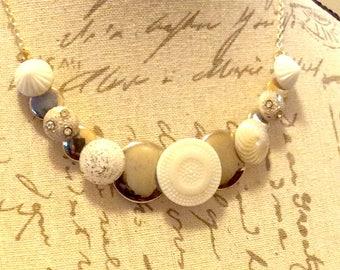 Snow White vintage Glass button necklace