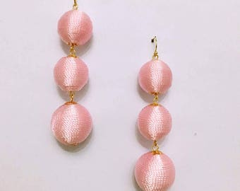 Pink Cord wrapped Les Bonbon bon bon Gum Drop Earrings 3 Ball Hanging