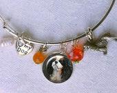Reserve Sale for Meg ~ Tricolor Cavalier King Charles Spaniel Charm Bracelet ~ Girlfriend Gift ~ Earrings
