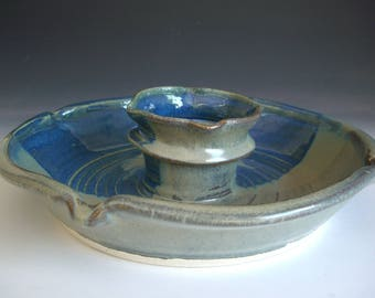 Hand thrown stoneware pottery chip and dip server  (CD-40)