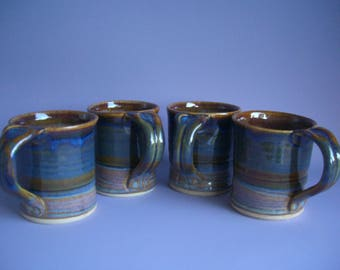 Hand thrown stoneware pottery mugs set of 4  (M-13)