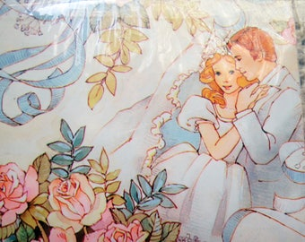 Vintage Wrapping Gift Paper Sealed Wedding Bride Groom Roses Romantic Scrapbooking