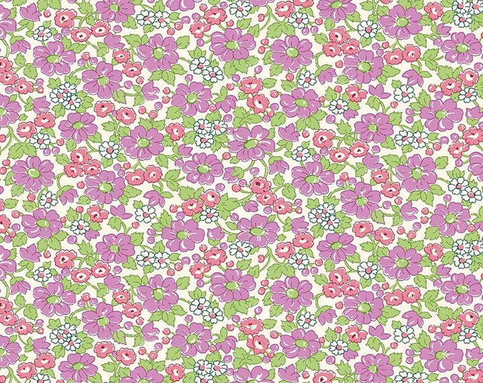 Prim and Proper Fabric by Lindsay Wilkes from The Cottage Mama for Riley Blake Designs and Penny Rose Fabrics - Purple Floral
