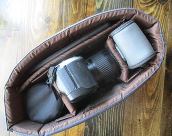 Grey & Brown Camera Bag Insert  - Adjustable Divider - Size 5x10x7 - INSTOCK