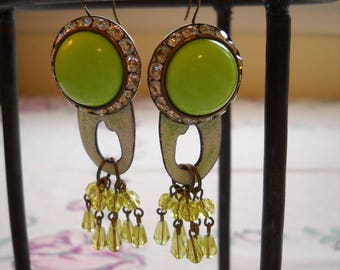 Lime Green Pierced Earrings Repurposed Vintage Rhinestones Enamel Crystals FREE SHIPPING