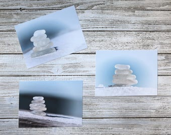 Beach Glass White Cairns- Set of 3 Photo Prints, calming blue and white Sea Glass, dreamy coastal wall art, bokeh, macro, zen meditation art