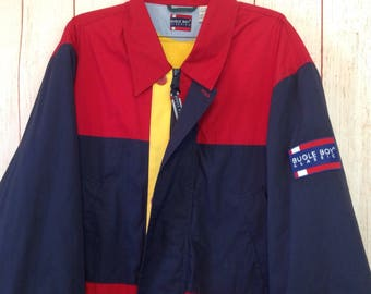 Vintage 90s Bugle Boy Classics Coat Jacket Red Navy Blue Mens Large