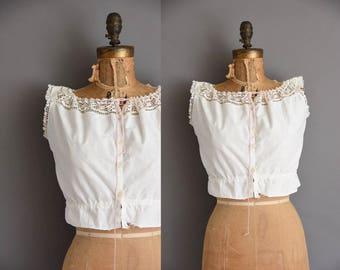 1910s antique white cotton camisole blouse. vintage 1910s blouse