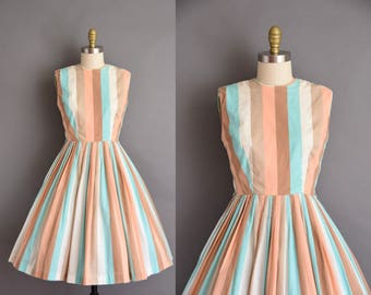 1950s vintage dress. 50s cotton stripe Neapolitan cotton full skirt dress