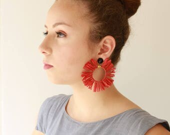 Red Earrings , Trendy hoop lightweight earrings , statement earrings , Circle tassel Natural Jewelry hippie Sun earrings for her naama brosh
