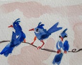 Blue birds on a wire aceo artist trading card original watercolor painting Art by Delilah