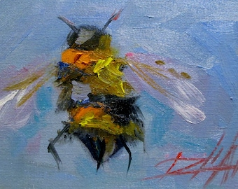 Bumble Bee insect oil painting 5x7 Delilah art