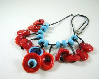 Turquoise and Red Disc Type Glass Beaded Necklace