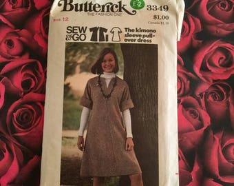 70's Vintage Butterick Pattern #3349 Size Misses 12