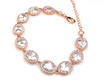 Wedding jewelry bridesmaid gift party prom pageant christmas bridal bracelet christmas oval rose gold pave halo clear white cubic zirconia