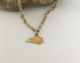 Kentucky State Necklace in brass by Hello Stranger