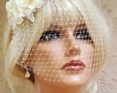 Ivory Bridal Headpiece, Wedding headband,  Rose Floral Headband,  Wedding Set, Bridal Veil, Vintage Style, Ivory Headpiece,  Wedding Veils