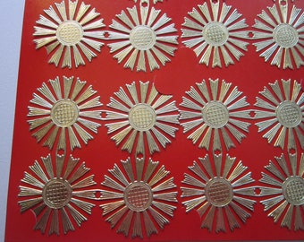 18 vintage Gilt-Foil DRESDEN paper medallions - gold paper lace, embossed gold paper decoupage decorations, foil scrap