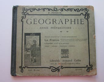 antique French Geography book - childrens' GEOGRAPHIE book