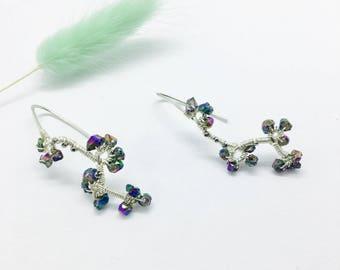 Titanium Pyrite Vine Earrings