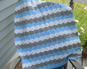 Baby Boy Baby Blue White and Gray Crochet Baby Blanket Baby Afghan Crochet Photo Prop 24 x 32