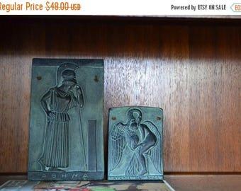 SALE 25% OFF vintage mid century greek mythology stone wall hangings