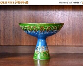 CIJ SALE 25% OFF vintage mid century modern bitossi for rosenthal netter italian pottery pedestal bowl