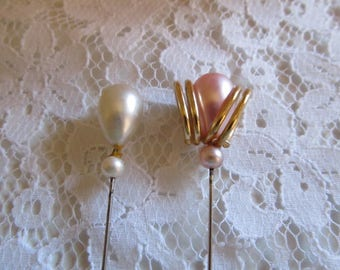 Two (2) Vintage Faux Pearl Hatpins
