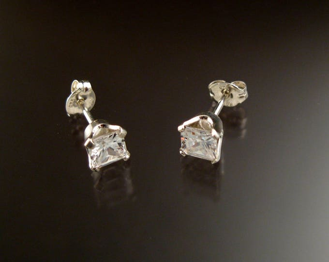 Cubic Zirconia White Square Post Earrings Sterling Silver Princess cut Square Diamond substitute Cubic Zirconium