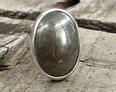 Boho Rocker Chic Large Minimalist Oval Golden Pyrite Sterling Silver Ring | Pyrite Ring | Statement Ring | Fools Gold Ring | Boho | Rocker