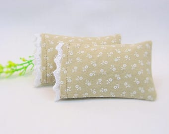 Miniature Doll Pillowcases with Removable Pillows / Beige Floral Print / Set of 2 / 1:12 Dollhouse Scale