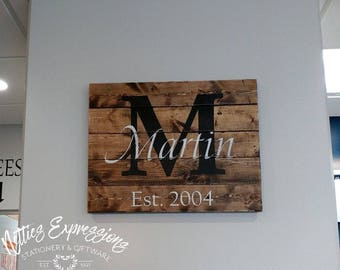 Classic Monogram 22x17.5 Pallet Wood Sign/Made to Order/Wood Sign/Wooden Sign/Rustic Sign