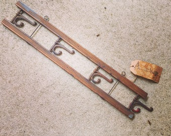 Victorian Coat Rack and Hat Rack / Oak and Wire