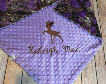 Personalized Camo Baby Blanket, Minky Camo Hunting Blanket, Purple Minky Camo Timber, Homecoming Blanket, Antler Deer Cominghome Blanket