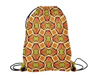 Kali Drawstring Bag | Bold Graphic Tribal Art Print | Lightweight | Swim Sport School Shopping | Bright Background