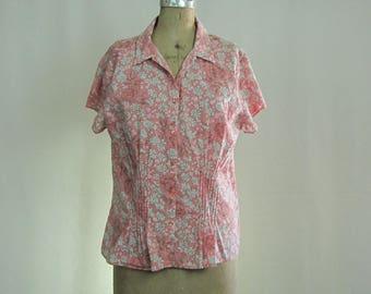 Vintage Blouse Summer Soft Pink Floral Cotton Dockers Large