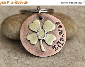 Four Leaf Clover / Lucky Horseshoe / Pet ID Tag / Key Chain / Personalized / Customized / Copper / Brass / Sterling Silver / Handmade A053