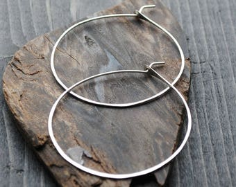 Thin Silver Hoop Earrings - Sterling Silver Hoops - Medium Hoop Earrings - Large Hoop Earrings - Big Hoop Earrings
