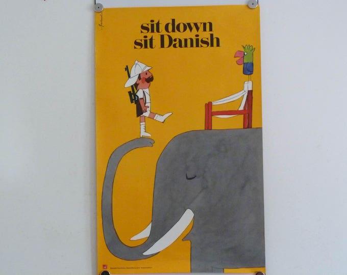 Ib Antoni poster Sit down sit Danish, Safari