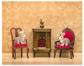 Rabbits (or bunnies) cozy woodland warm tone art print- Rabbit Ears