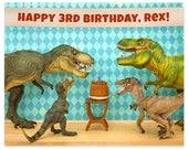Customizable Personalized Birthday Print: Dinosaur Decor Edition